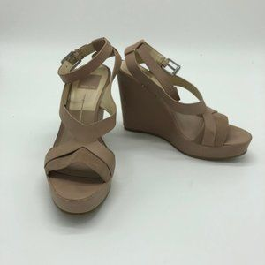 Dolce Vita Berit Taupe Leather Strappy Wedges Sz 7